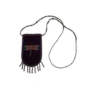 Beaded Insect Coin Purse with Beaded Strap